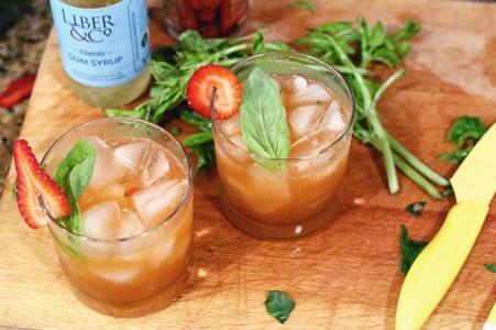 Strawberry Basil Margarita - Top Down